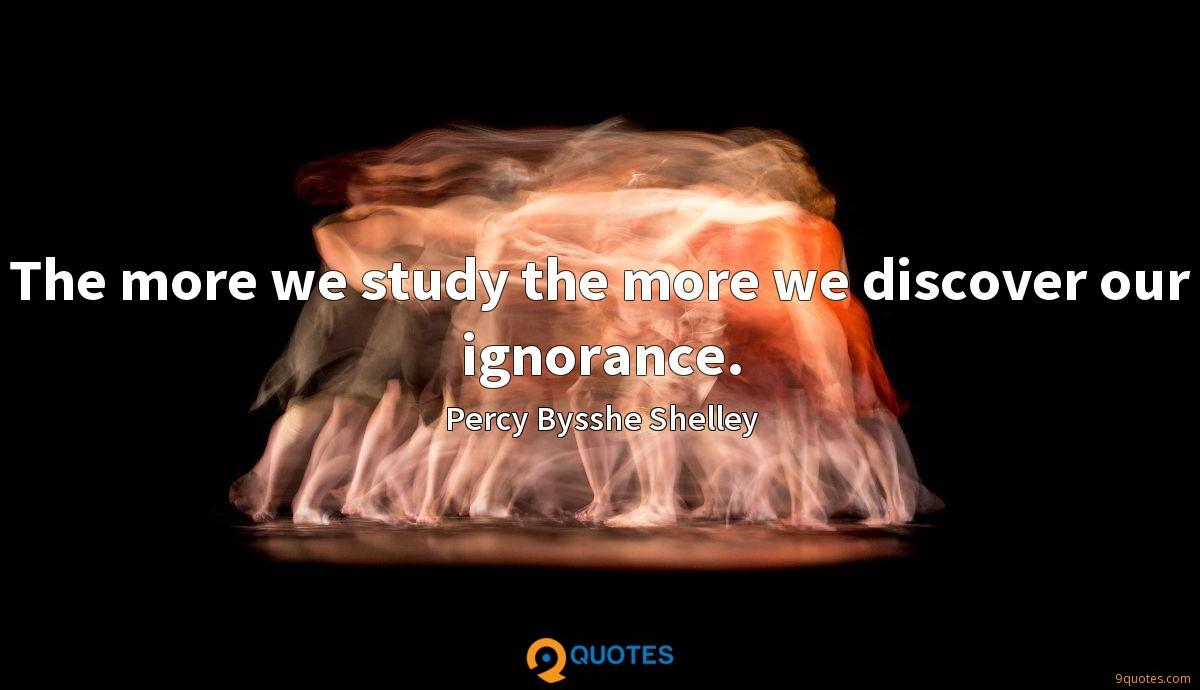 The more we study the more we discover our ignorance.