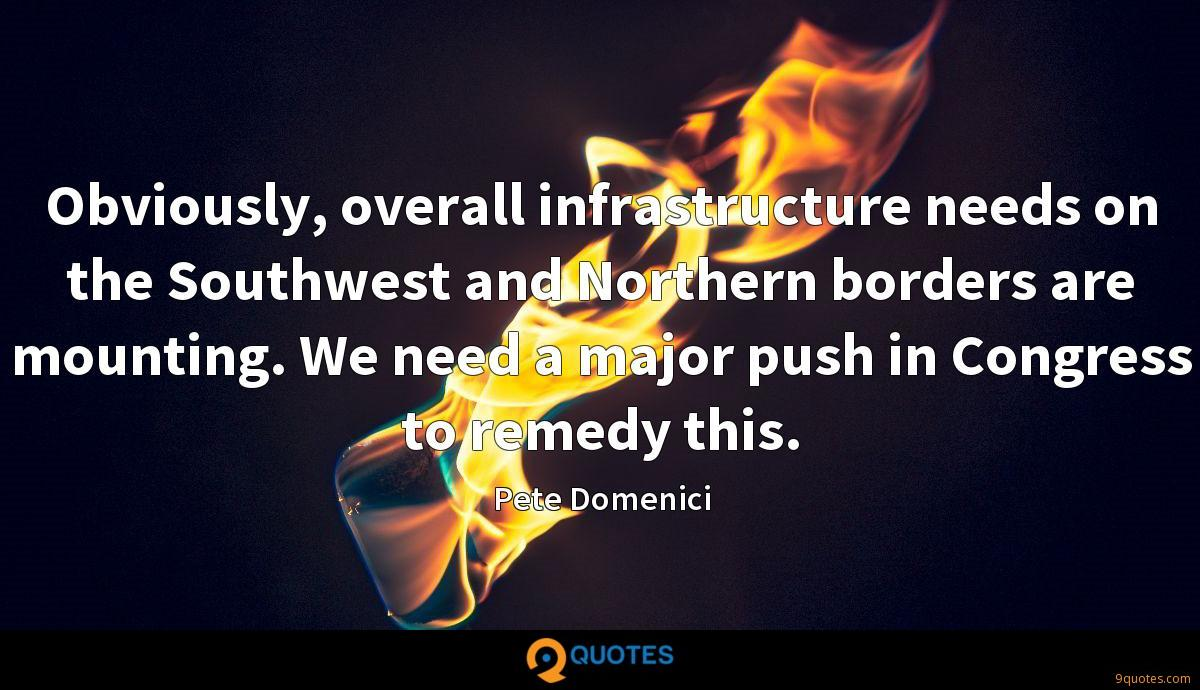 Obviously, overall infrastructure needs on the Southwest and Northern borders are mounting. We need a major push in Congress to remedy this.