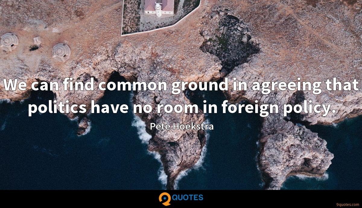 We can find common ground in agreeing that politics have no room in foreign policy.