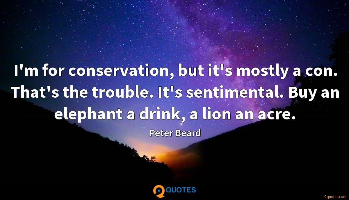 I'm for conservation, but it's mostly a con. That's the trouble. It's sentimental. Buy an elephant a drink, a lion an acre.