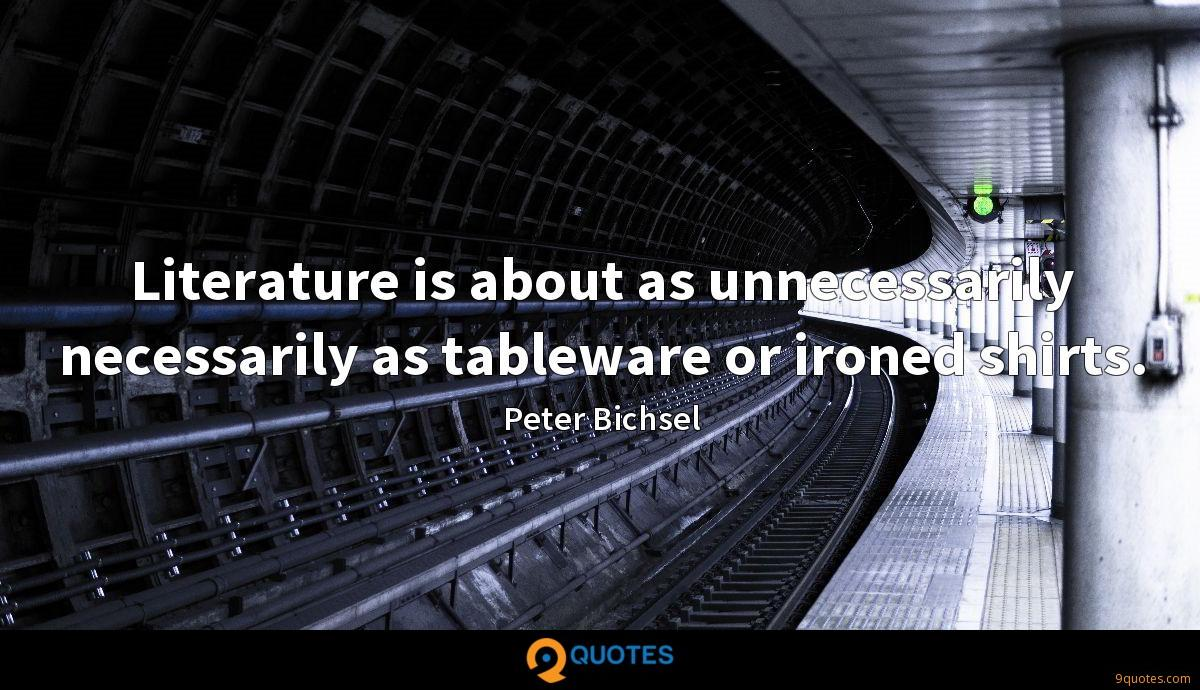 Literature is about as unnecessarily necessarily as tableware or ironed shirts.