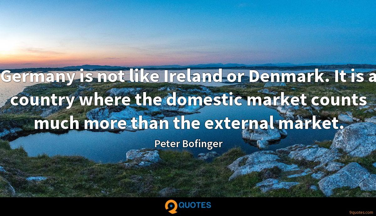 Germany is not like Ireland or Denmark. It is a country where the domestic market counts much more than the external market.