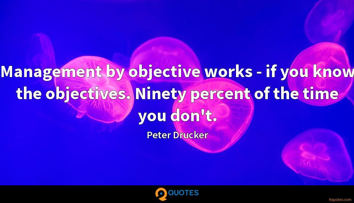 Management by objective works - if you know the objectives. Ninety percent of the time you don't.