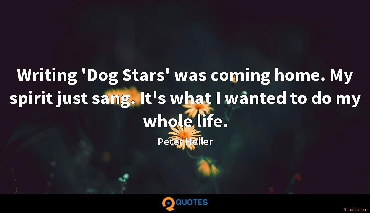 Writing 'Dog Stars' was coming home. My spirit just sang. It's what I wanted to do my whole life.