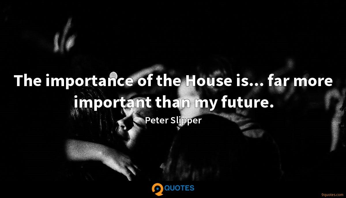 The importance of the House is... far more important than my future.