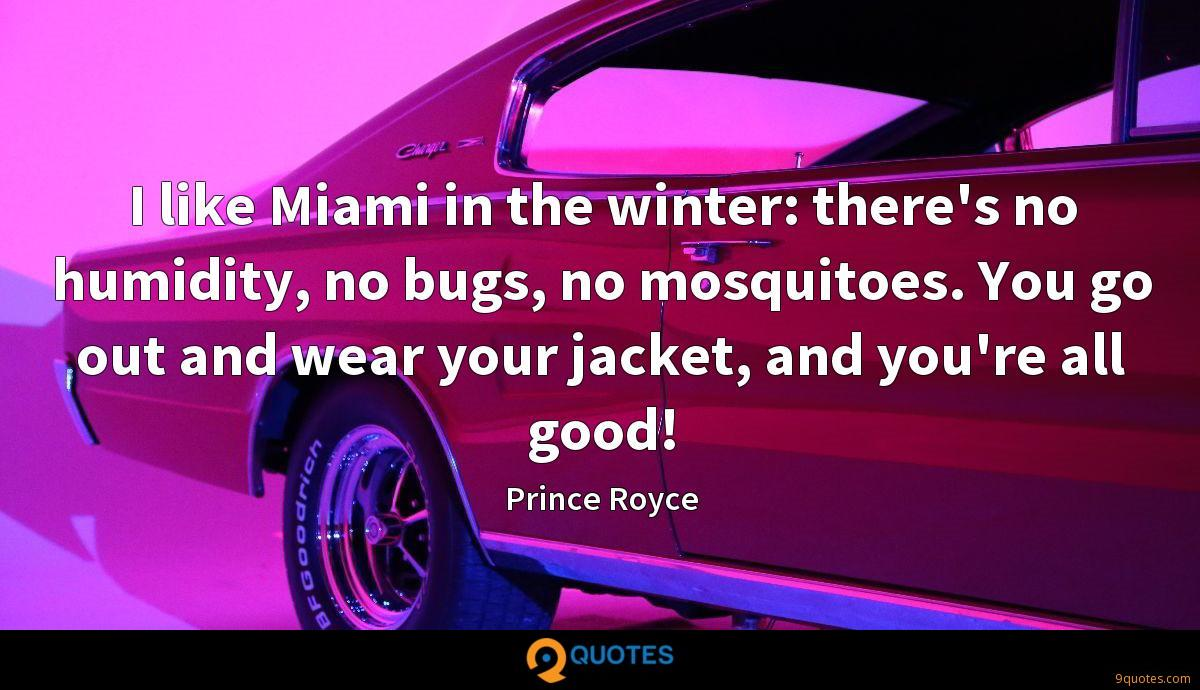 I like Miami in the winter: there's no humidity, no bugs, no mosquitoes. You go out and wear your jacket, and you're all good!