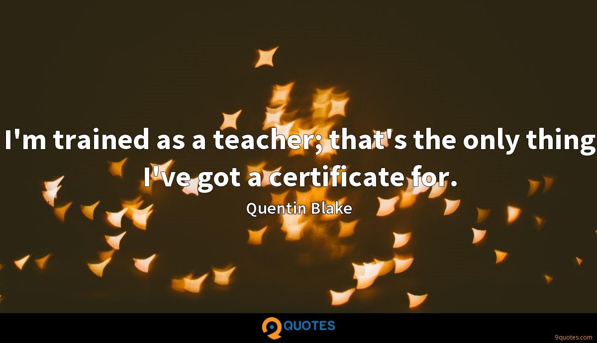 I'm trained as a teacher; that's the only thing I've got a certificate for.