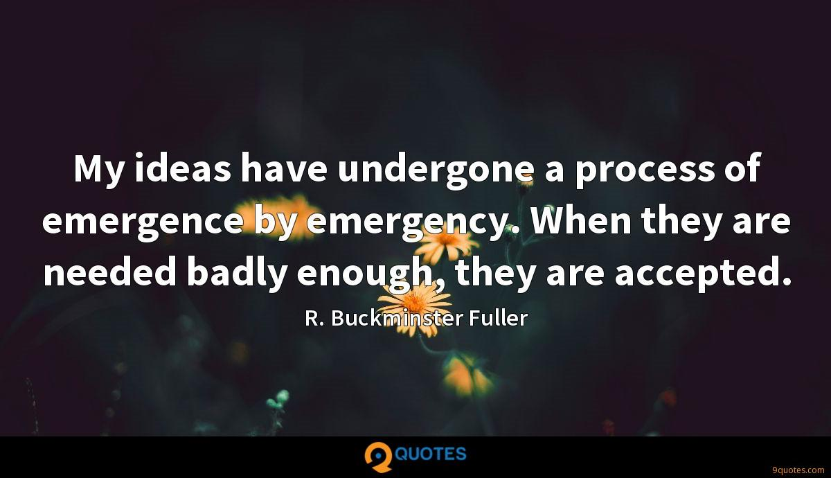 My ideas have undergone a process of emergence by emergency. When they are needed badly enough, they are accepted.