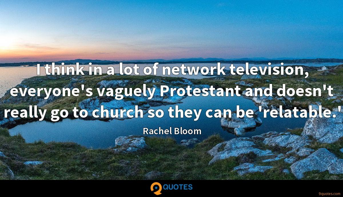 I think in a lot of network television, everyone's vaguely Protestant and doesn't really go to church so they can be 'relatable.'