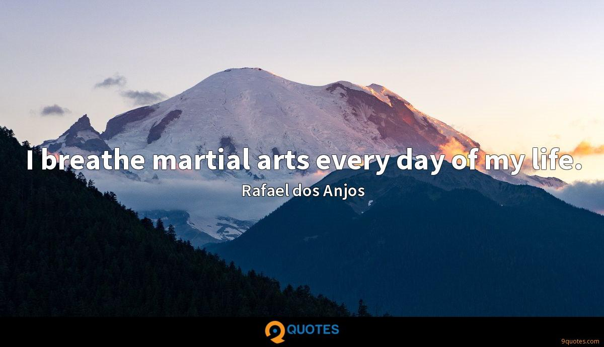I breathe martial arts every day of my life.