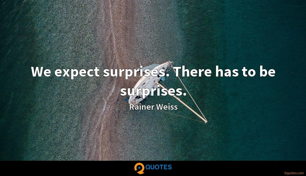 We expect surprises. There has to be surprises.