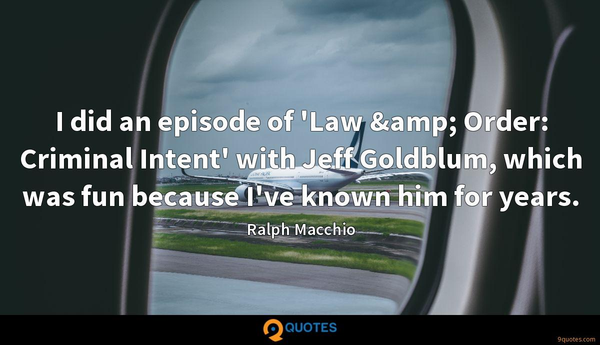I did an episode of 'Law & Order: Criminal Intent' with Jeff Goldblum, which was fun because I've known him for years.