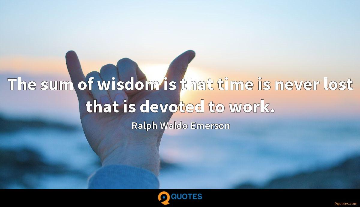 The sum of wisdom is that time is never lost that is devoted to work.