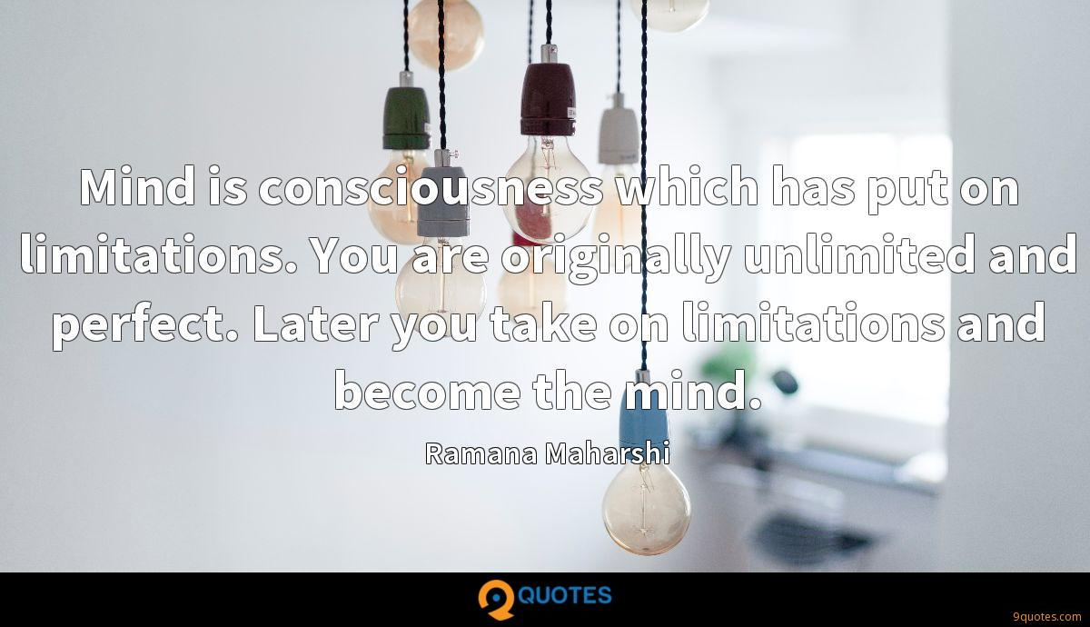 Mind is consciousness which has put on limitations. You are originally unlimited and perfect. Later you take on limitations and become the mind.