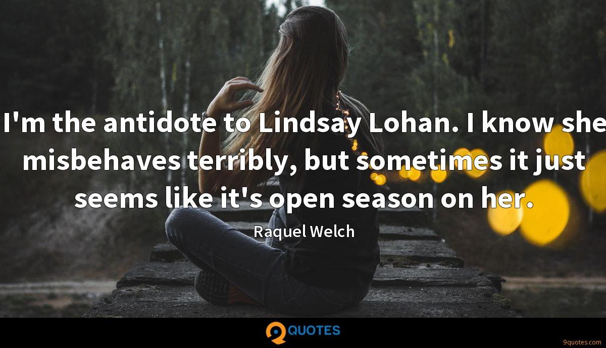I'm the antidote to Lindsay Lohan. I know she misbehaves terribly, but sometimes it just seems like it's open season on her.