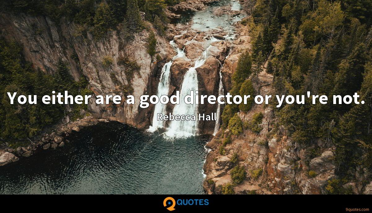 You either are a good director or you're not.