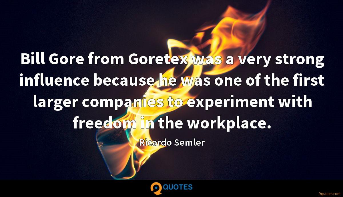 Bill Gore from Goretex was a very strong influence because he was one of the first larger companies to experiment with freedom in the workplace.