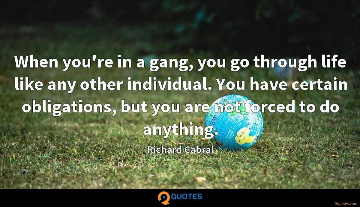 When you're in a gang, you go through life like any other individual. You have certain obligations, but you are not forced to do anything.