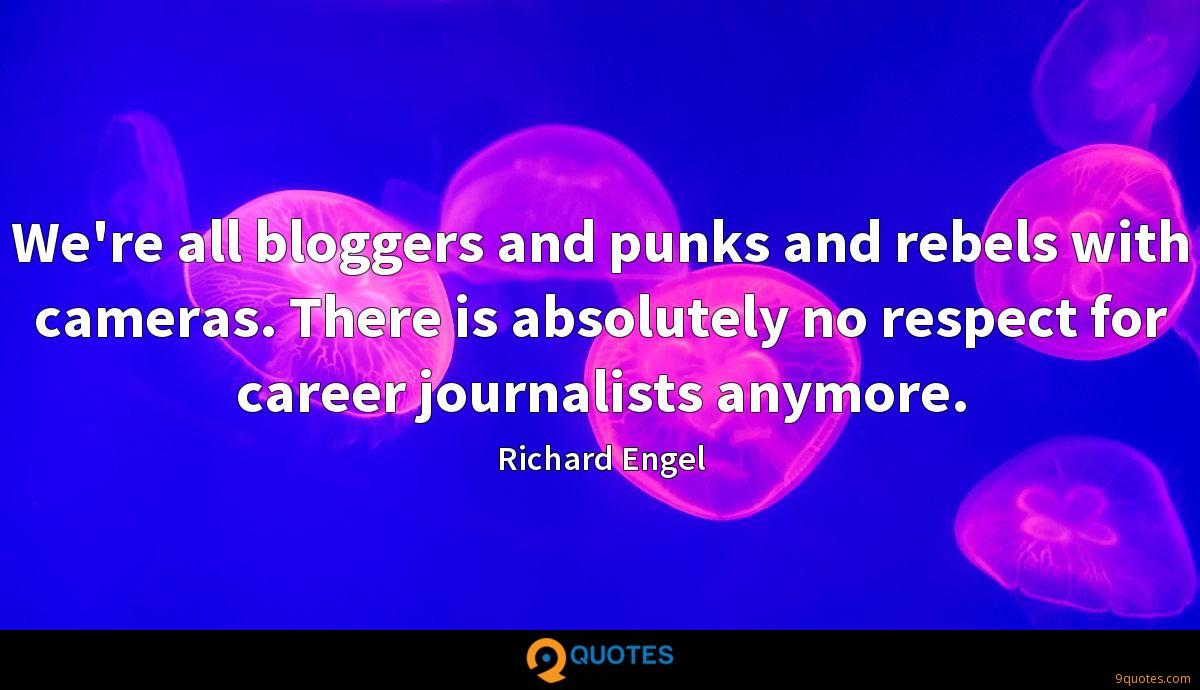 We're all bloggers and punks and rebels with cameras. There is absolutely no respect for career journalists anymore.