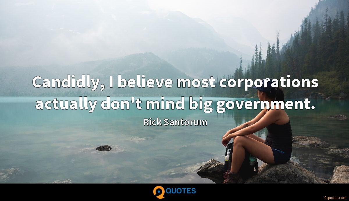 Candidly, I believe most corporations actually don't mind big government.