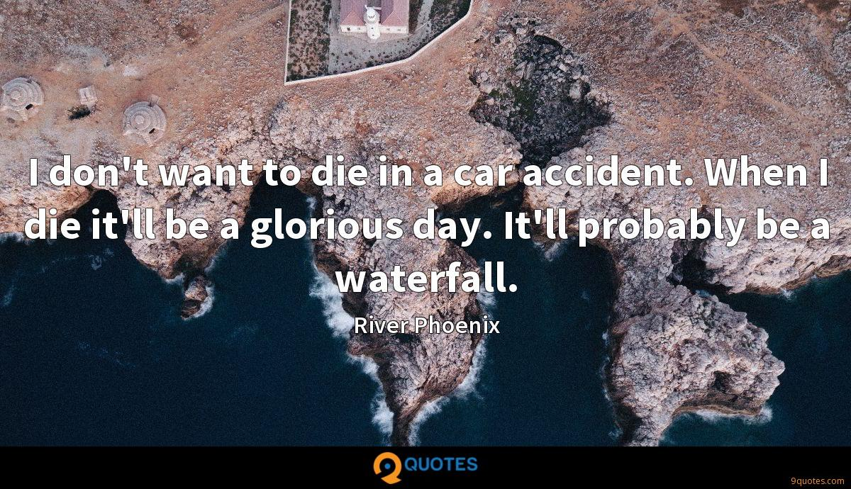 I don't want to die in a car accident. When I die it'll be a glorious day. It'll probably be a waterfall.