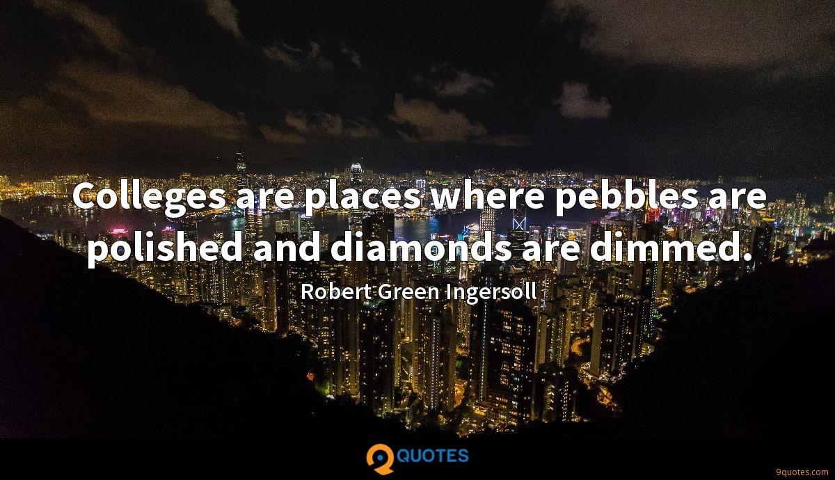 Colleges are places where pebbles are polished and diamonds are dimmed.