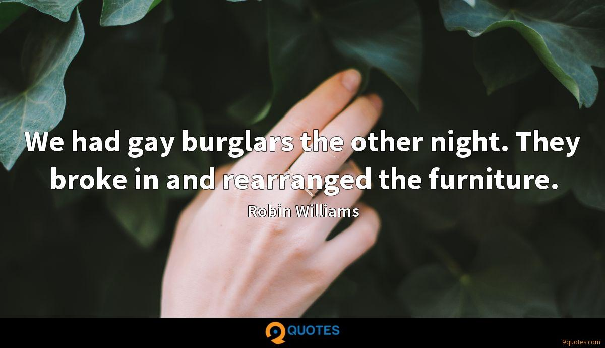 We had gay burglars the other night. They broke in and rearranged the furniture.