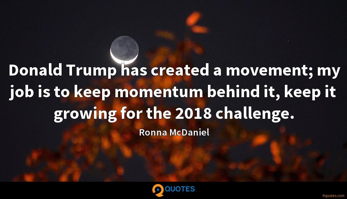 Donald Trump has created a movement; my job is to keep momentum behind it, keep it growing for the 2018 challenge.