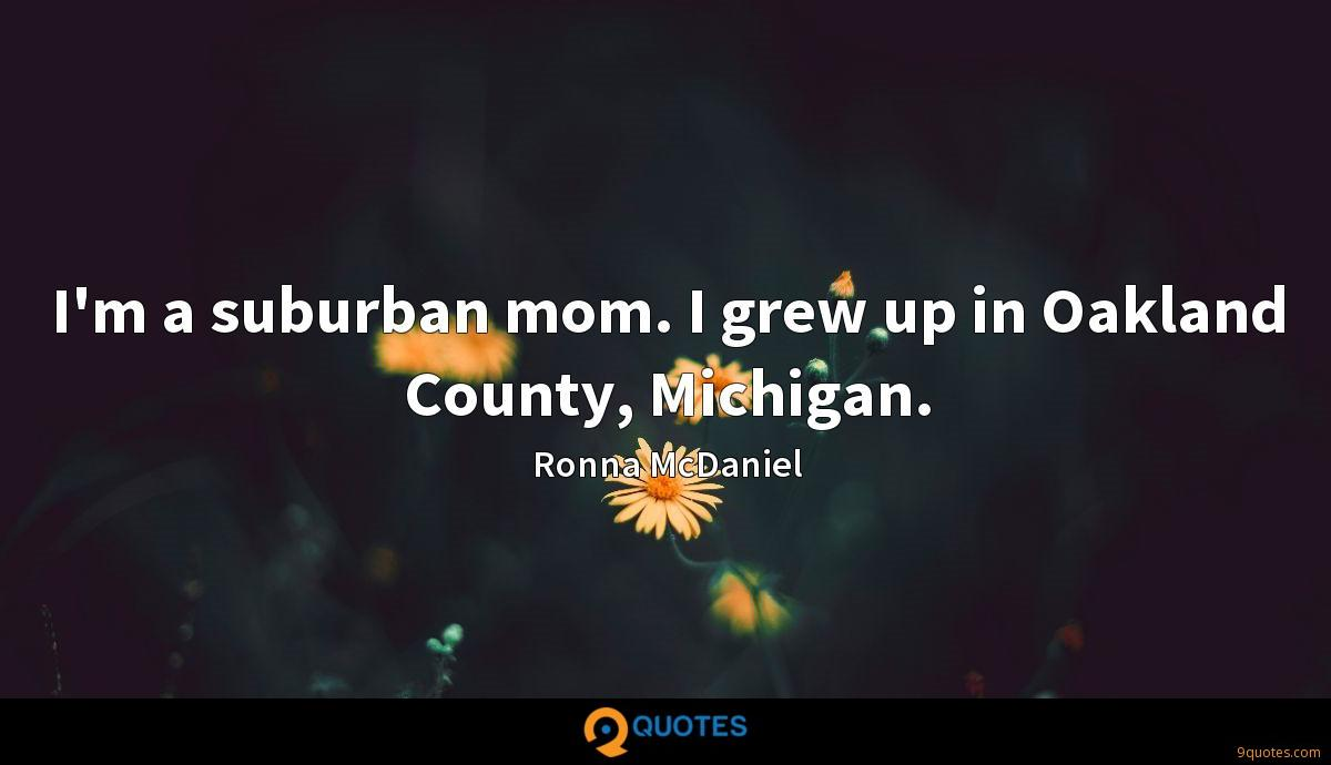 I'm a suburban mom. I grew up in Oakland County, Michigan.