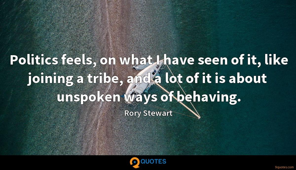 Politics feels, on what I have seen of it, like joining a tribe, and a lot of it is about unspoken ways of behaving.