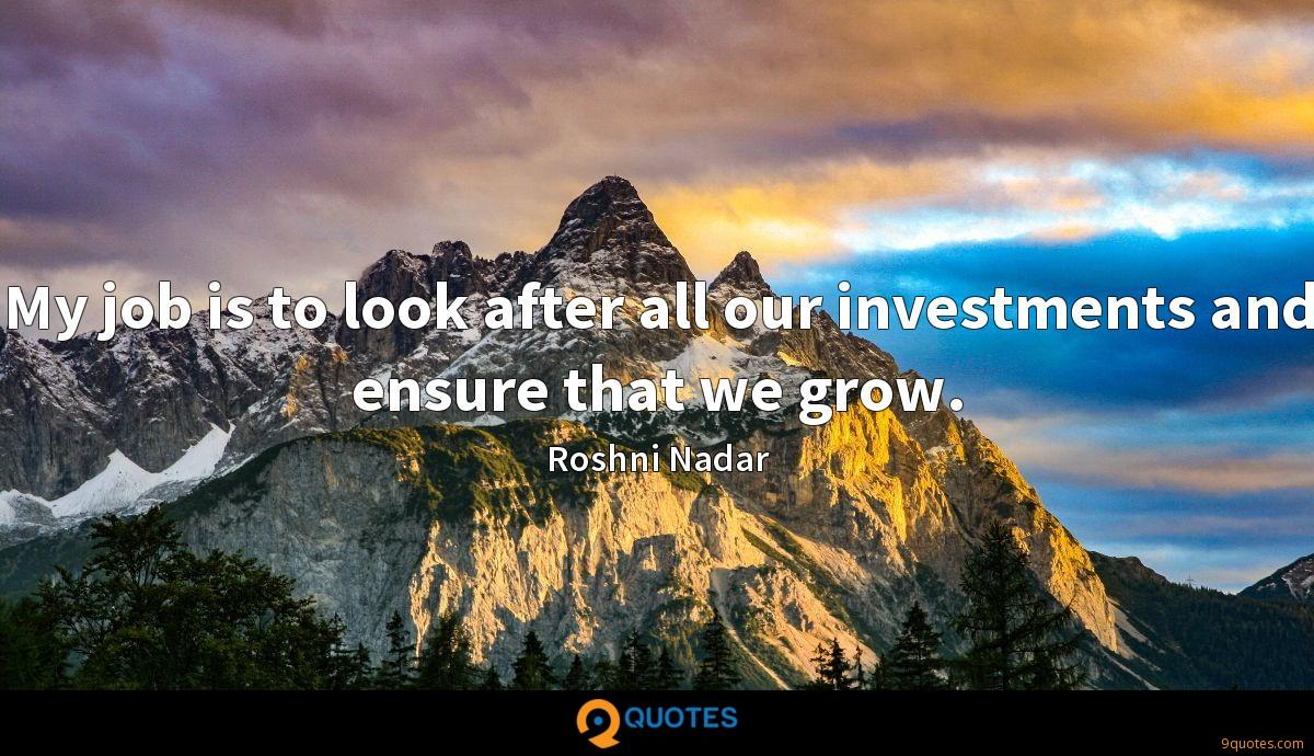 My job is to look after all our investments and ensure that we grow.