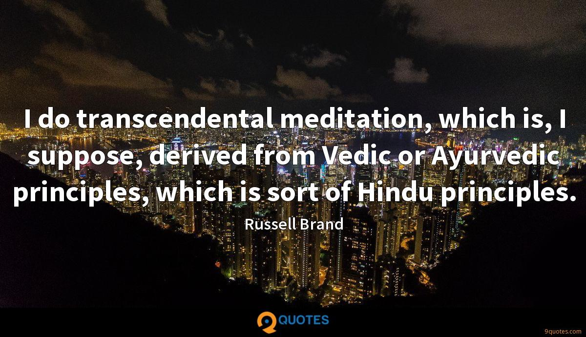 I do transcendental meditation, which is, I suppose, derived from Vedic or Ayurvedic principles, which is sort of Hindu principles.