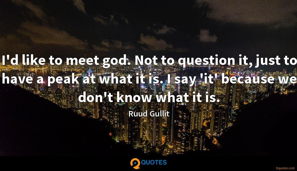 I'd like to meet god. Not to question it, just to have a peak at what it is. I say 'it' because we don't know what it is.