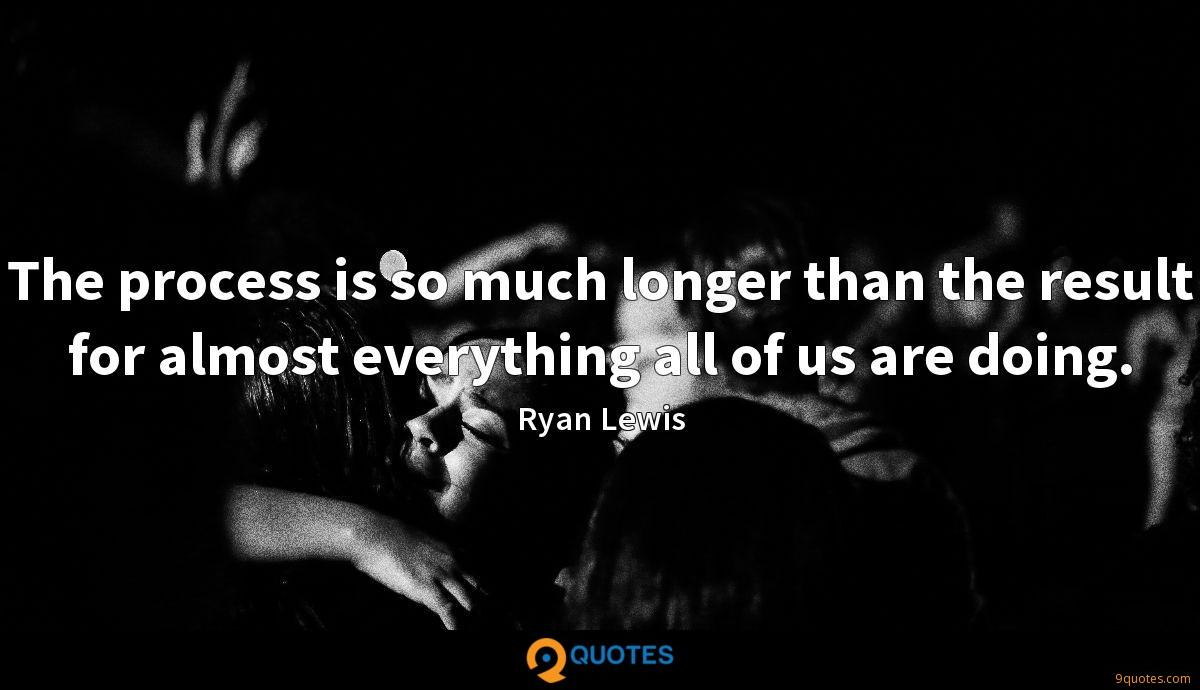 The process is so much longer than the result for almost everything all of us are doing.