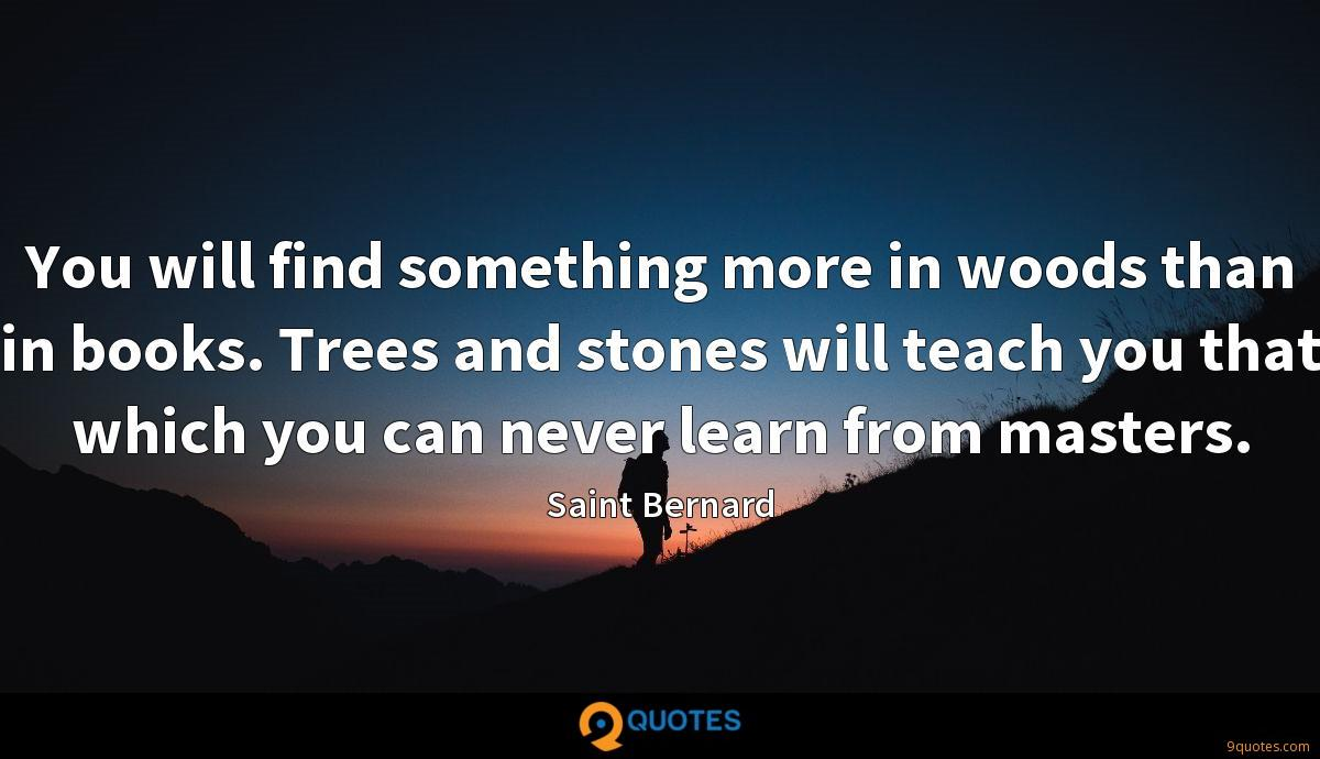 You will find something more in woods than in books. Trees and stones will teach you that which you can never learn from masters.