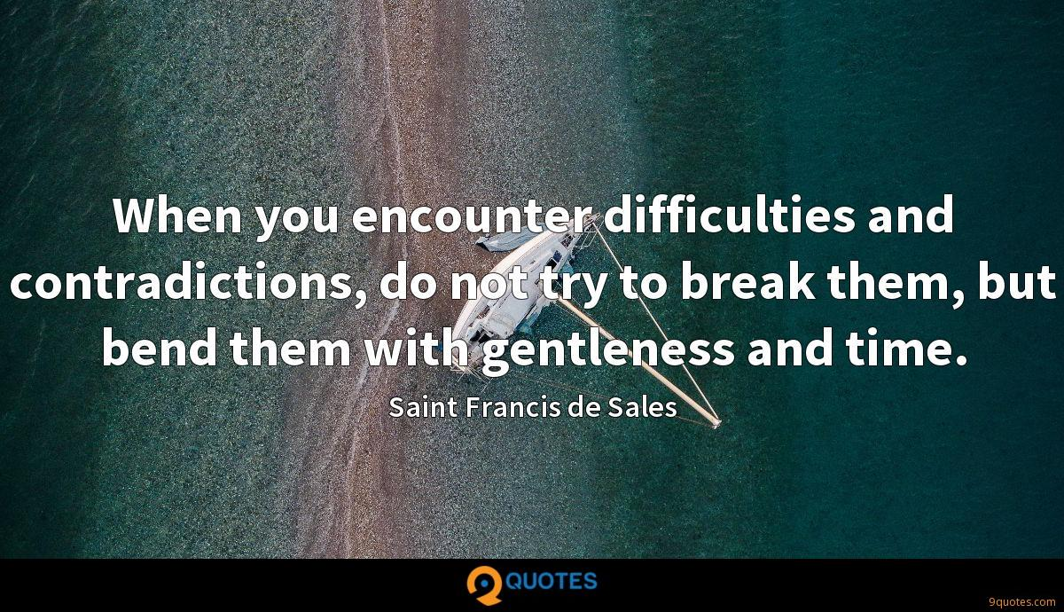 When you encounter difficulties and contradictions, do not try to break them, but bend them with gentleness and time.