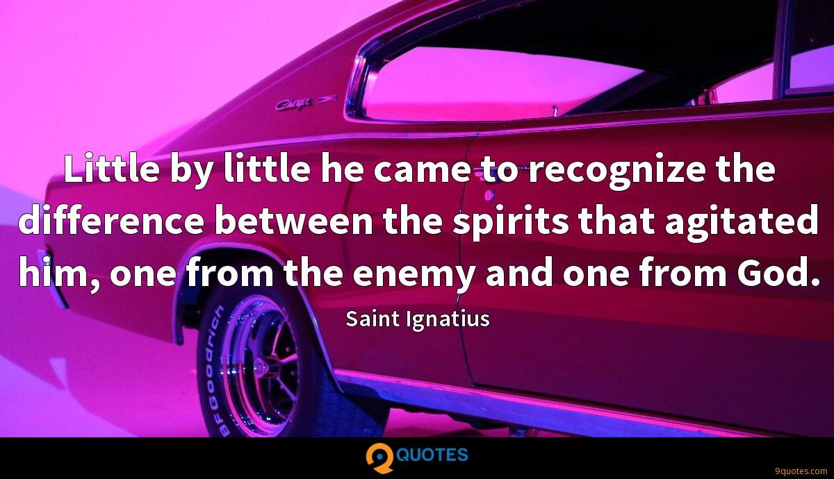 Little by little he came to recognize the difference between the spirits that agitated him, one from the enemy and one from God.