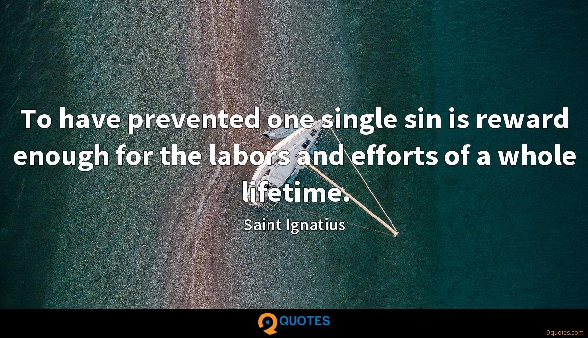 To have prevented one single sin is reward enough for the labors and efforts of a whole lifetime.