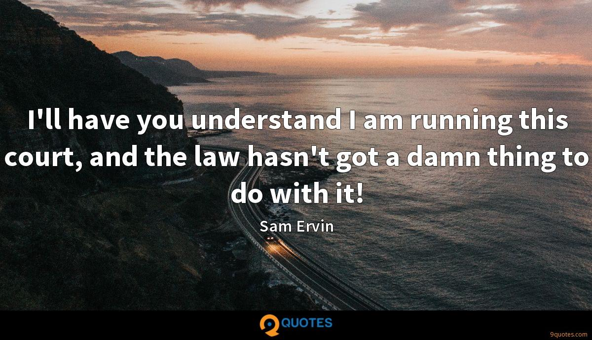 I'll have you understand I am running this court, and the law hasn't got a damn thing to do with it!