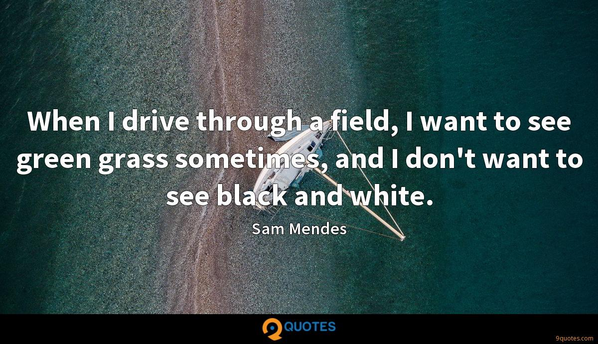 When I drive through a field, I want to see green grass sometimes, and I don't want to see black and white.
