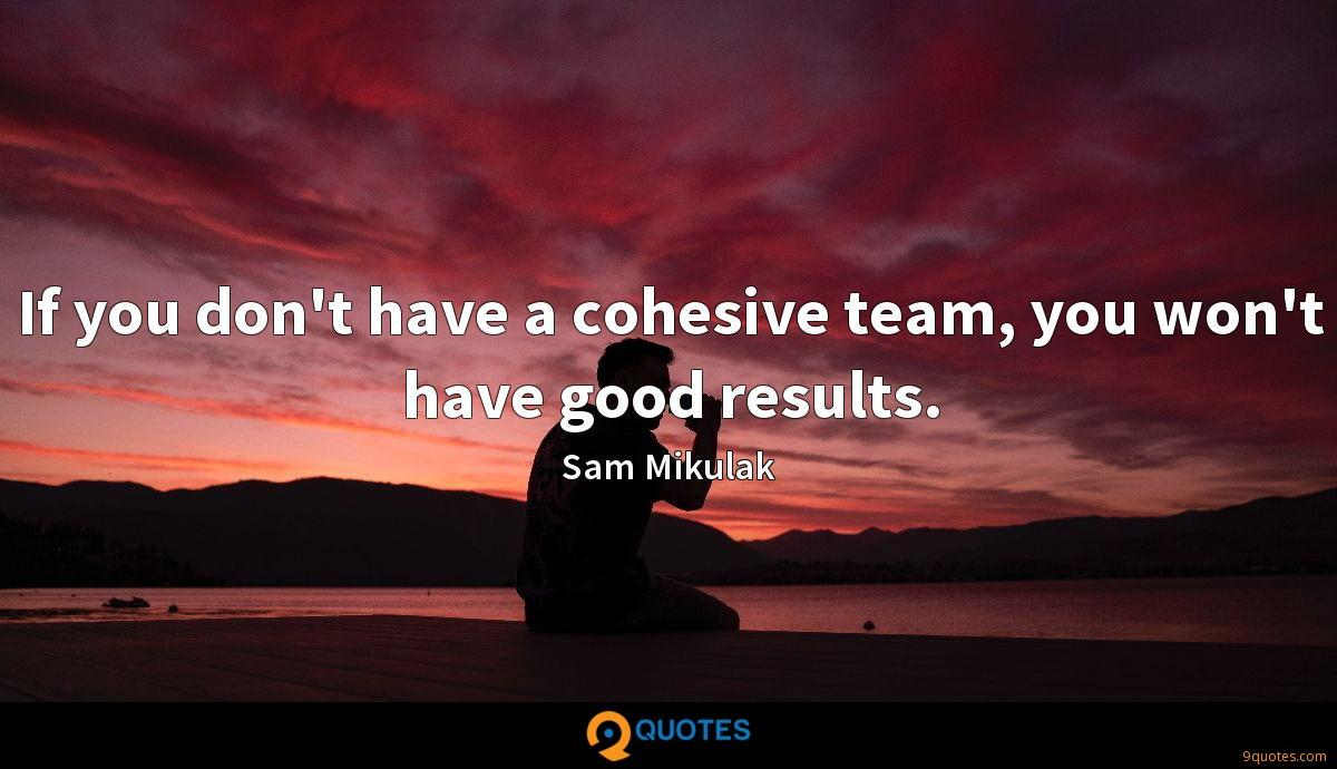 If you don't have a cohesive team, you won't have good results.