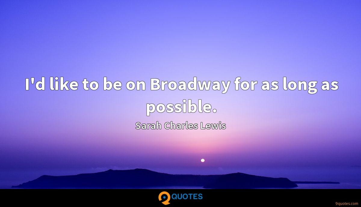 I'd like to be on Broadway for as long as possible.