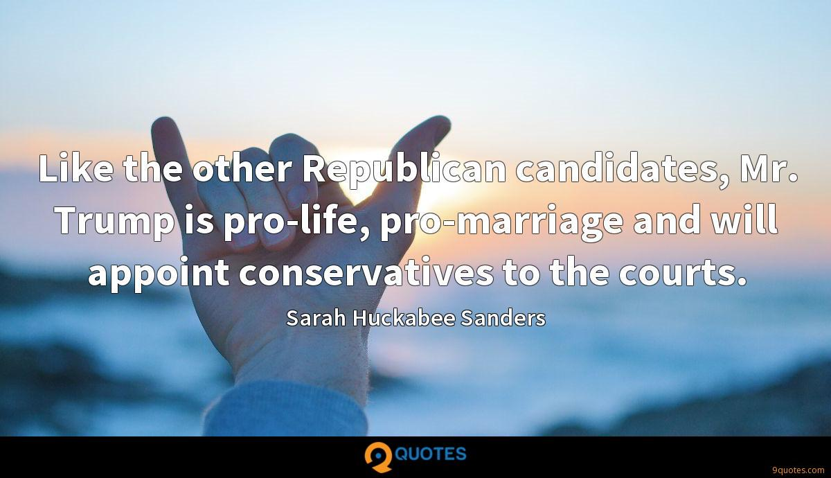 Like the other Republican candidates, Mr. Trump is pro-life, pro-marriage and will appoint conservatives to the courts.