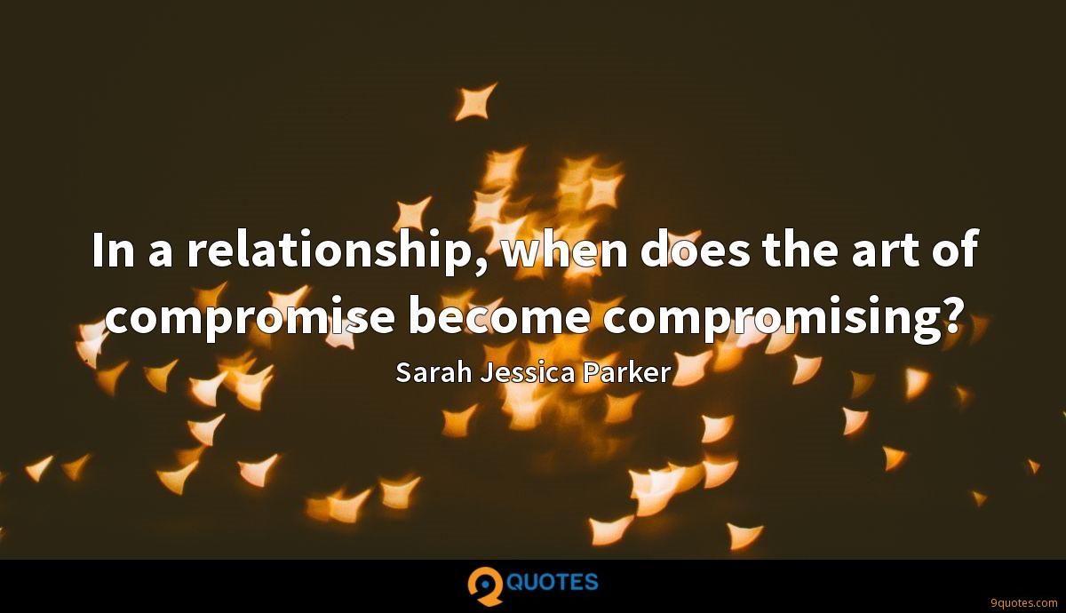 In a relationship, when does the art of compromise become compromising?