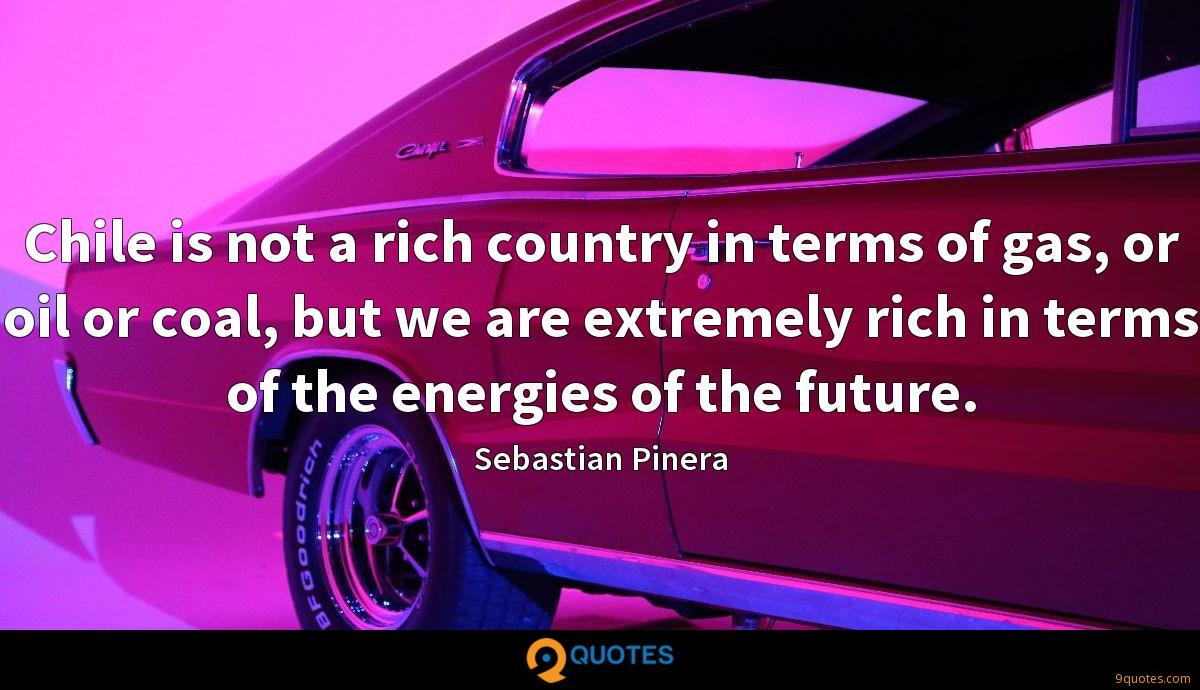 Chile is not a rich country in terms of gas, or oil or coal, but we are extremely rich in terms of the energies of the future.