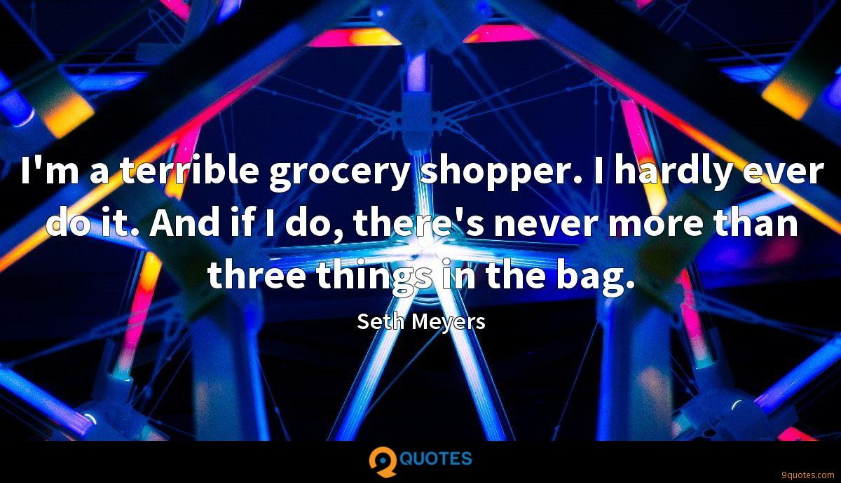 I'm a terrible grocery shopper. I hardly ever do it. And if I do, there's never more than three things in the bag.