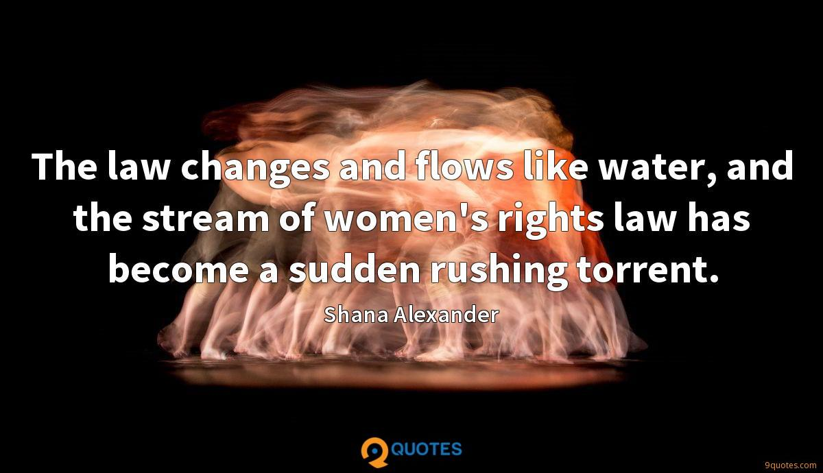 The law changes and flows like water, and the stream of women's rights law has become a sudden rushing torrent.