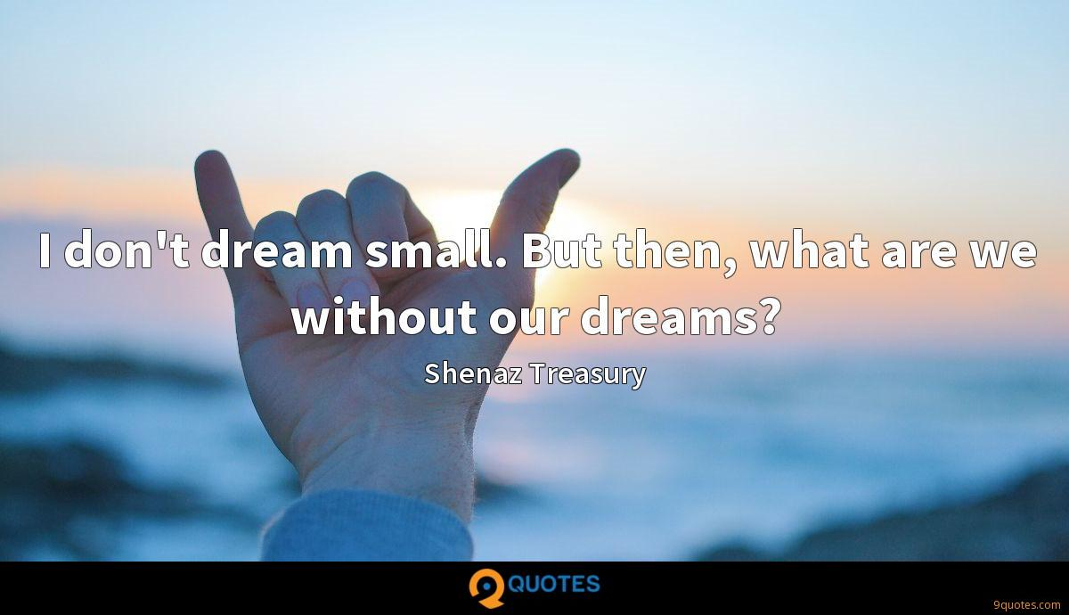 I don't dream small. But then, what are we without our dreams?