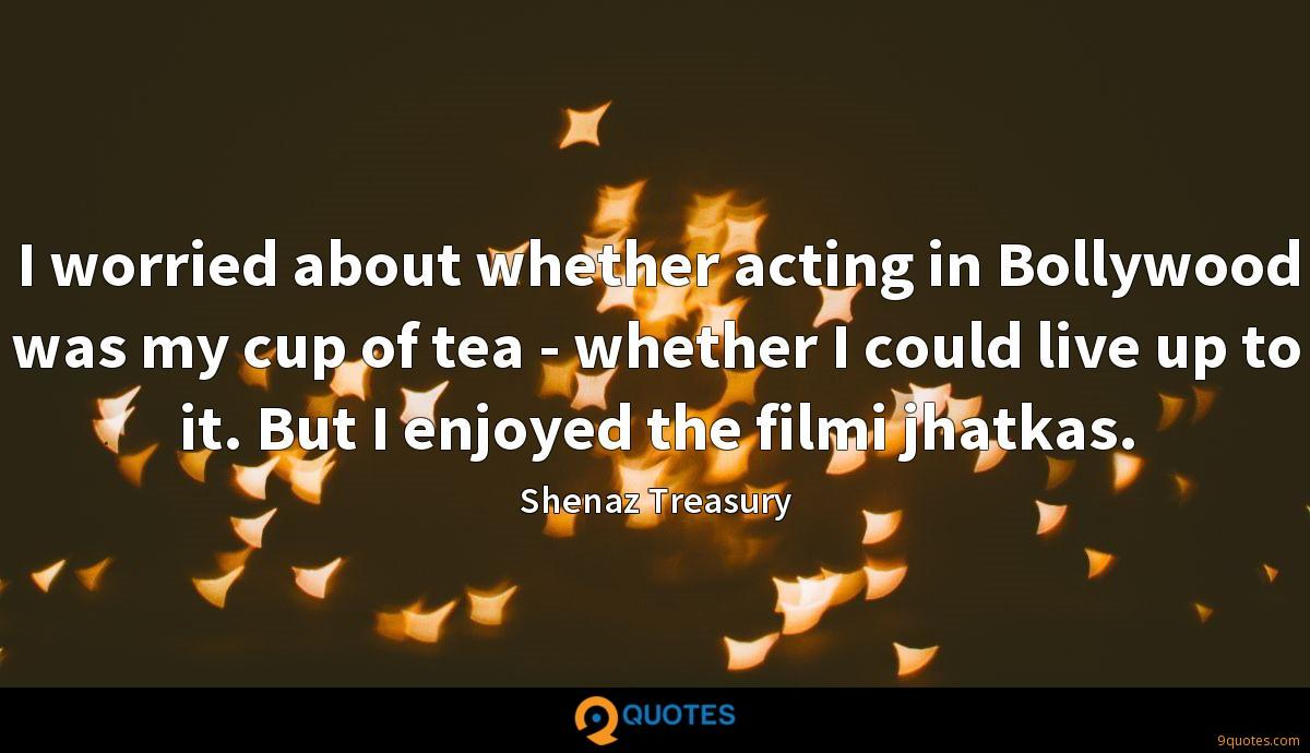 I worried about whether acting in Bollywood was my cup of tea - whether I could live up to it. But I enjoyed the filmi jhatkas.