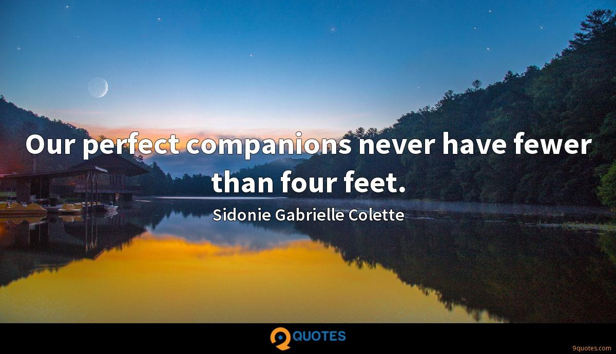 Our perfect companions never have fewer than four feet.